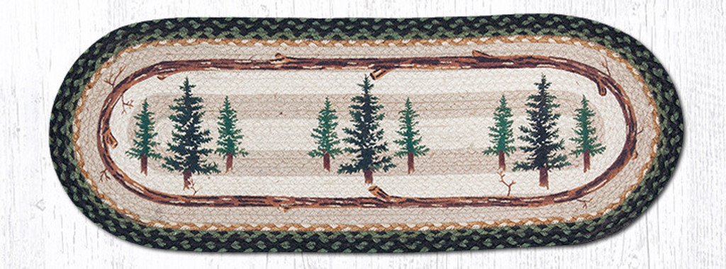 Earth Rugs™ Braided Jute Oval Table Runner: Tall Timbers 68-116TT