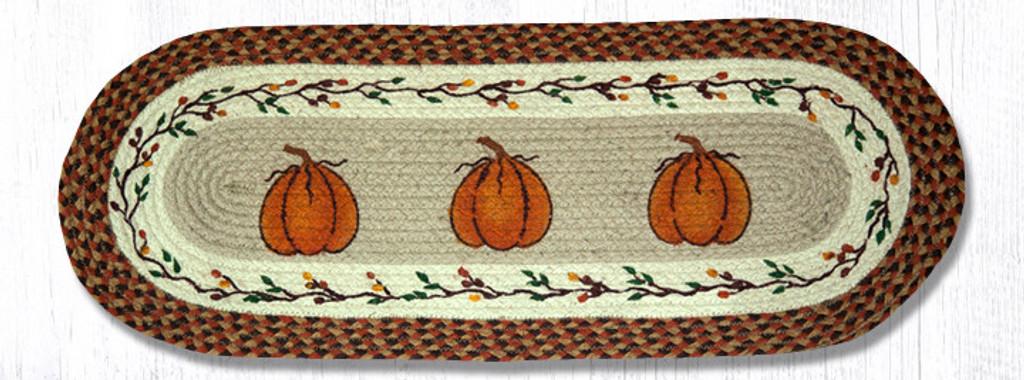 Earth Rugs™ Braided Jute Oval Table Runner: Harvest Pumpkin 68-222HP