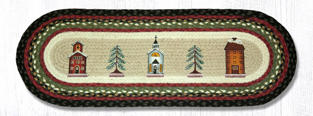 Earth Rugs™ Braided Jute Oval Table Runner: Winter Village