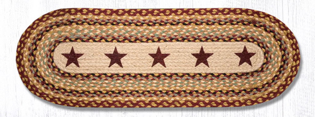 Earth Rugs™ Braided Jute Oval Table Runner: Burgundy Stars