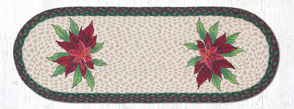 Earth Rugs™ Braided Jute Oval Table Runner: Poinsettias