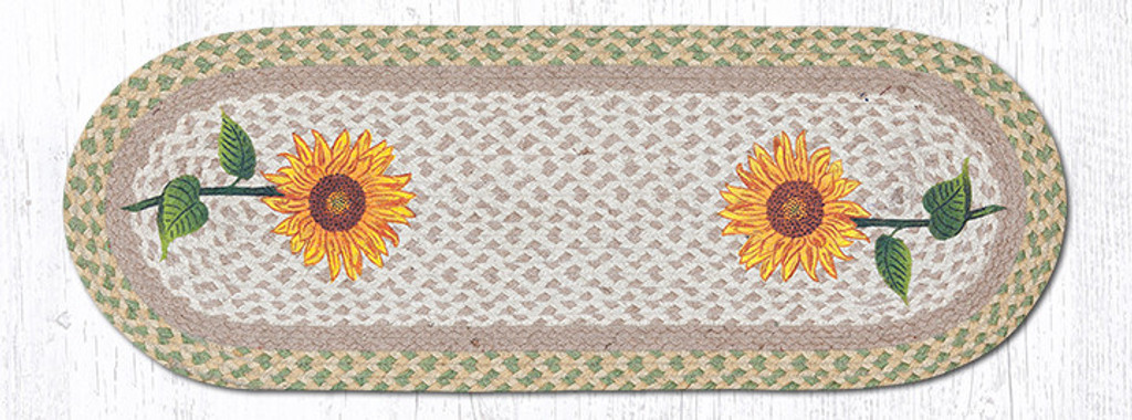 Earth Rugs™ Braided Jute Oval Table Runner: Tall Sunflowers