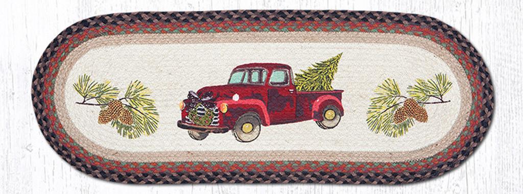 Earth Rugs™ Braided Jute Oval Table Runner: Christmas Truck
