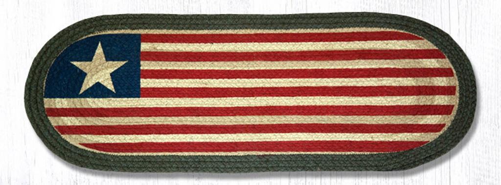 Earth Rugs™ Braided Jute Oval Table Runner: Original Flag