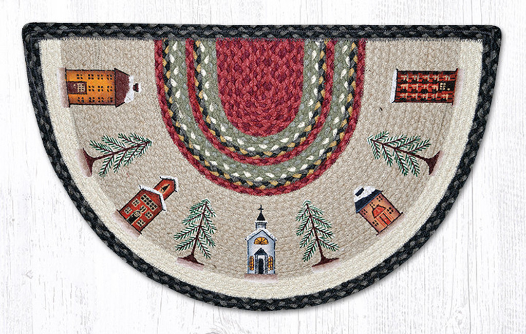 Earth Rugs™ Braided Jute Printed Slice Rug - Winter Village