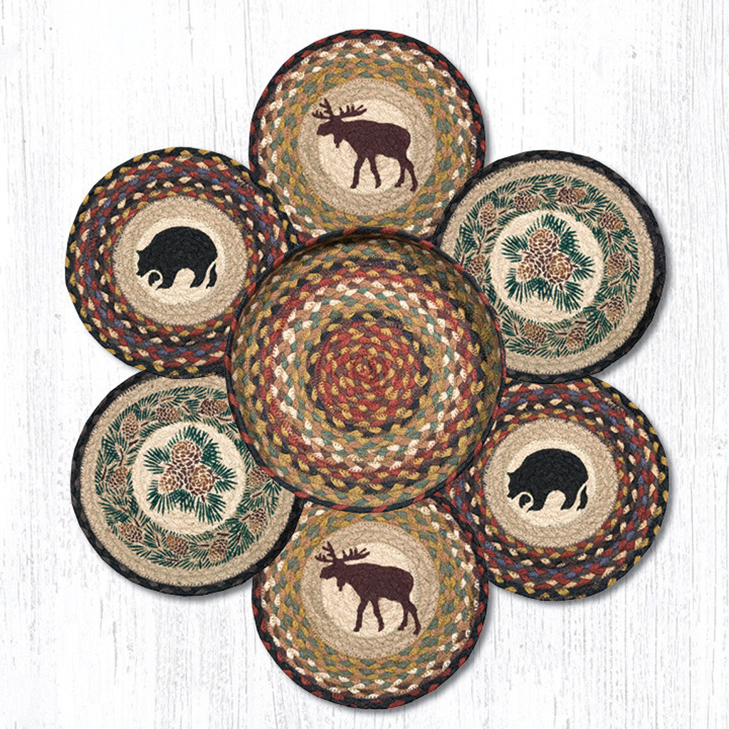 "Earth Rugs™ Braided Jute 10"" Round Trivets In Basket Set: Wilderness"