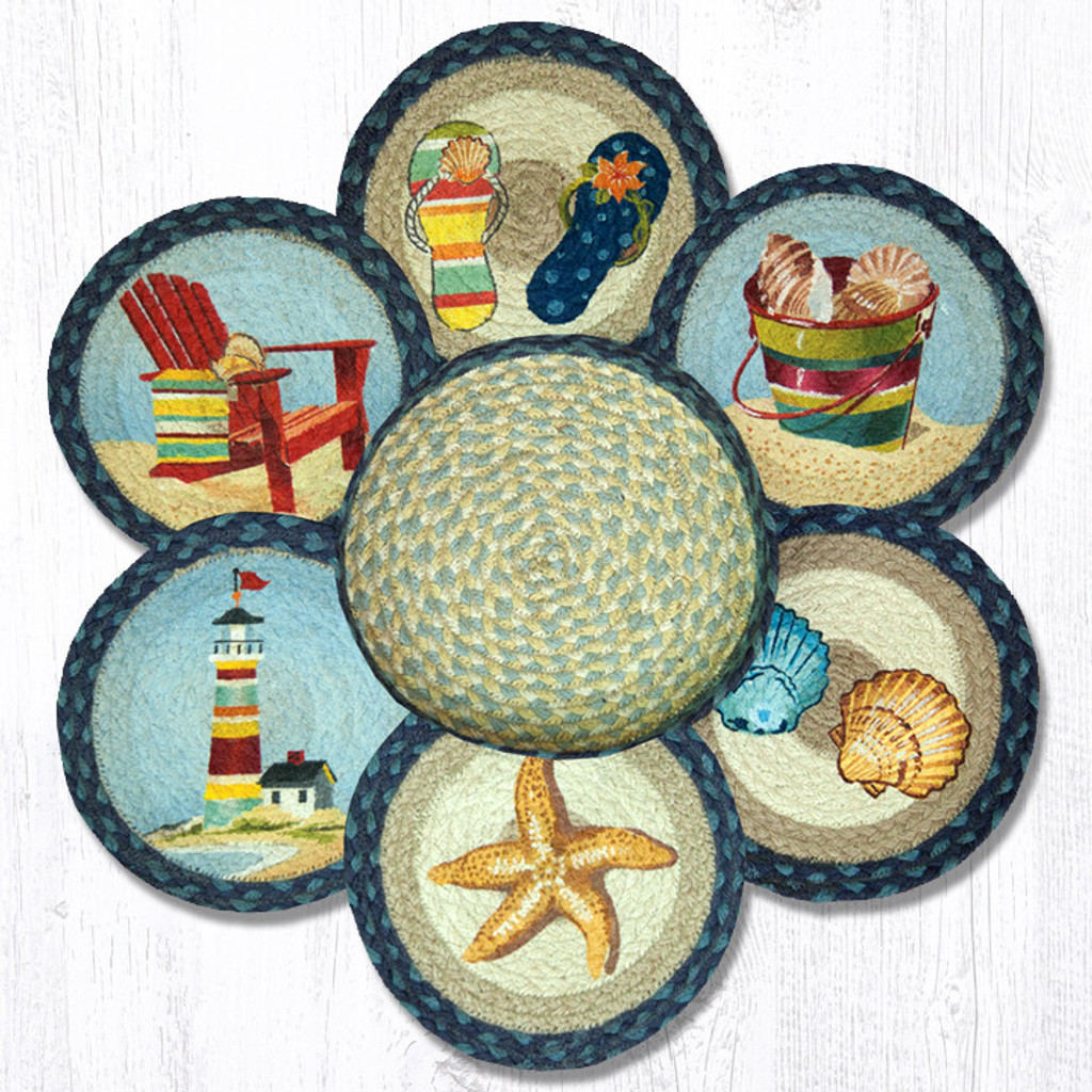 "Earth Rugs™ Braided Jute 10"" Round Trivets In Basket Set: By The Sea"