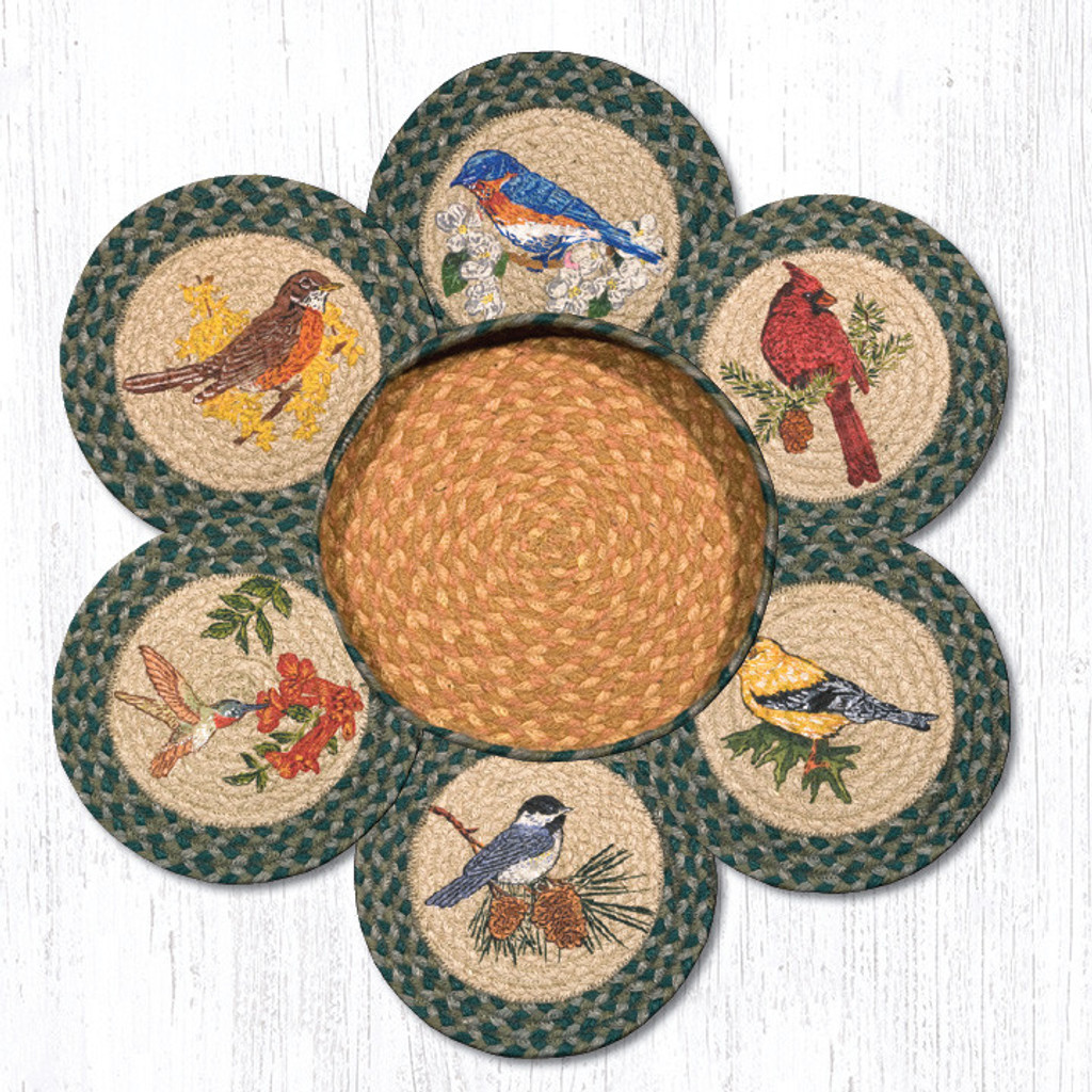 """Earth Rugs™ Braided Jute 10"""" Round Trivets In Basket Set: Song Birds"""