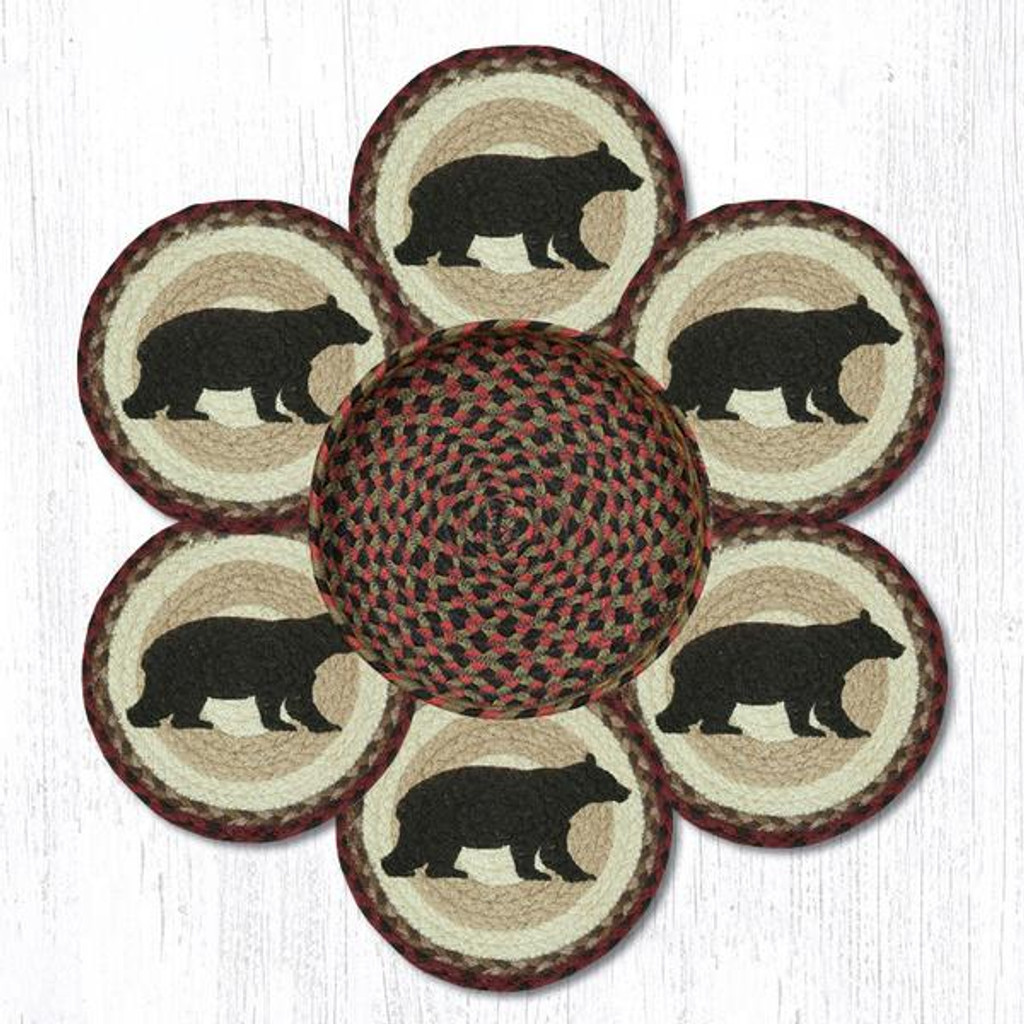 "Earth Rugs™ Braided Jute 10"" Round Trivets In Basket Set: Cabin Bear"