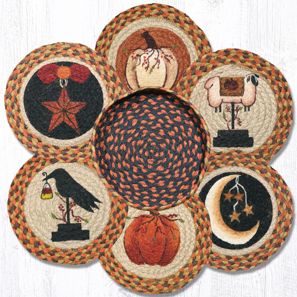 "Earth Rugs™ Braided Jute 10"" Round Trivets In Basket Set: Autumn"