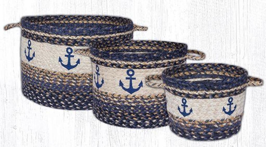 Earth Rugs™ Braided Jute Utility Basket: Anchor