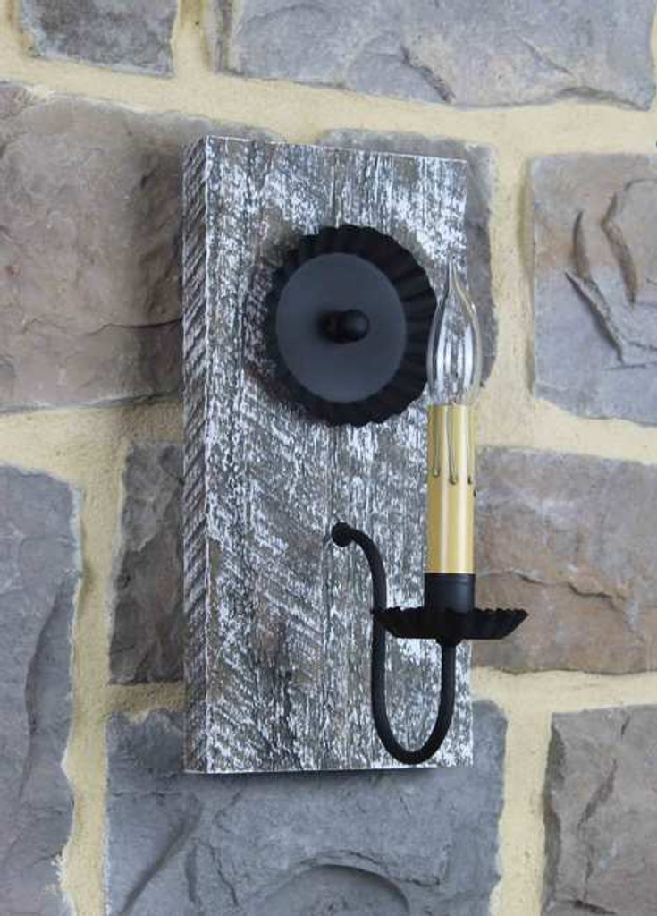Rustic Barn Wood Electric Wall Sconce With Antique Slate & White Highlights Finish