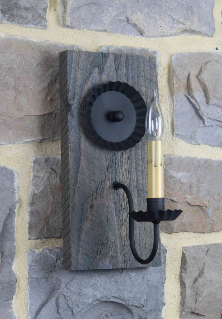 Rustic Barn Wood Electric Wall Sconce With Antique Slate Finish