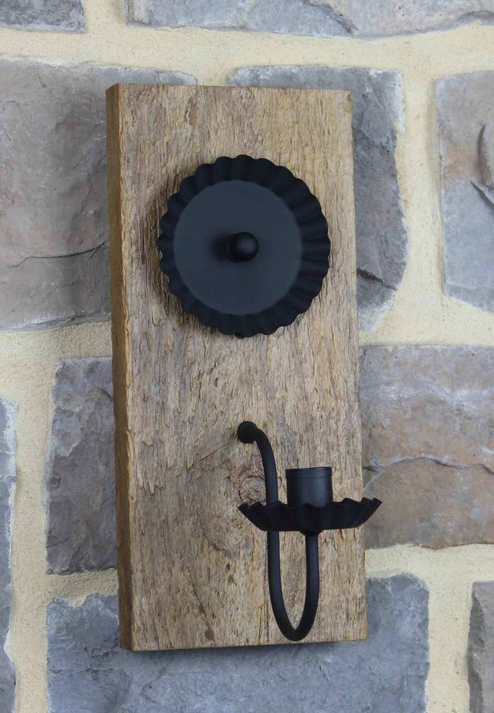 Rustic Barn Wood Candle Wall Sconce - Finished With Polyurethane