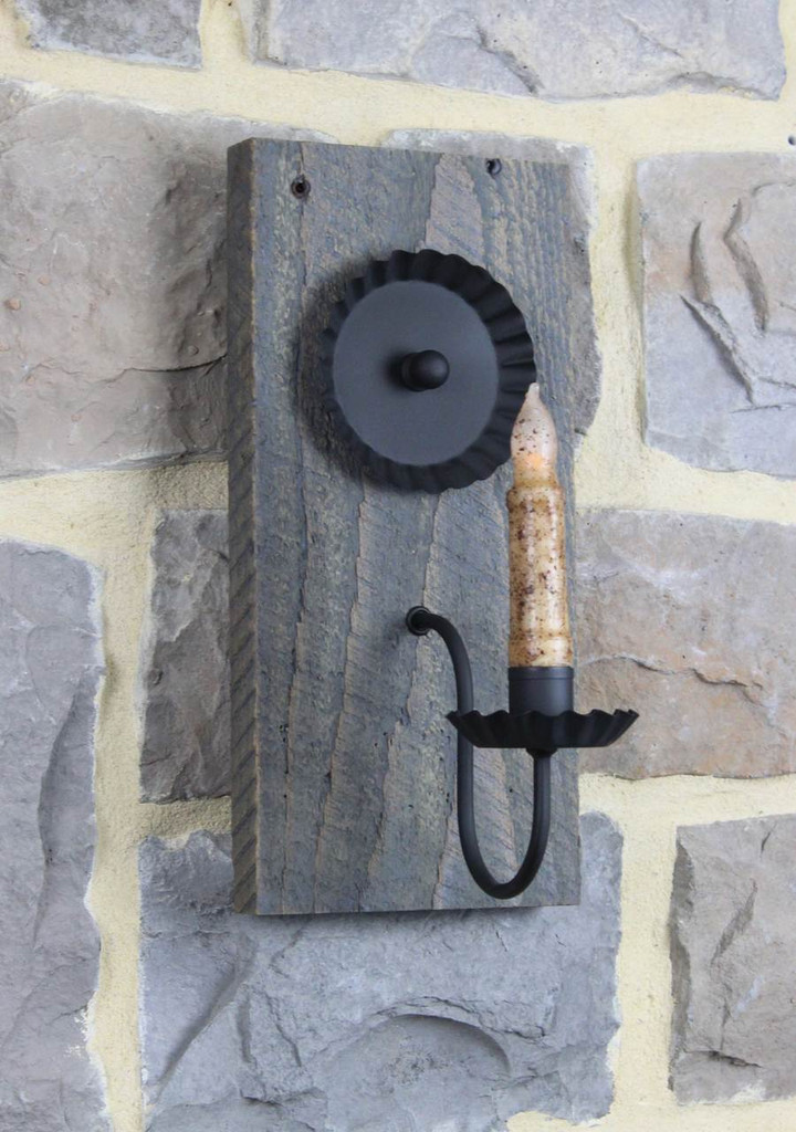 Rustic Barn Wood Candle Wall Sconce - Antique Slate Finish - Pictured With Battery Candle Sold Separately