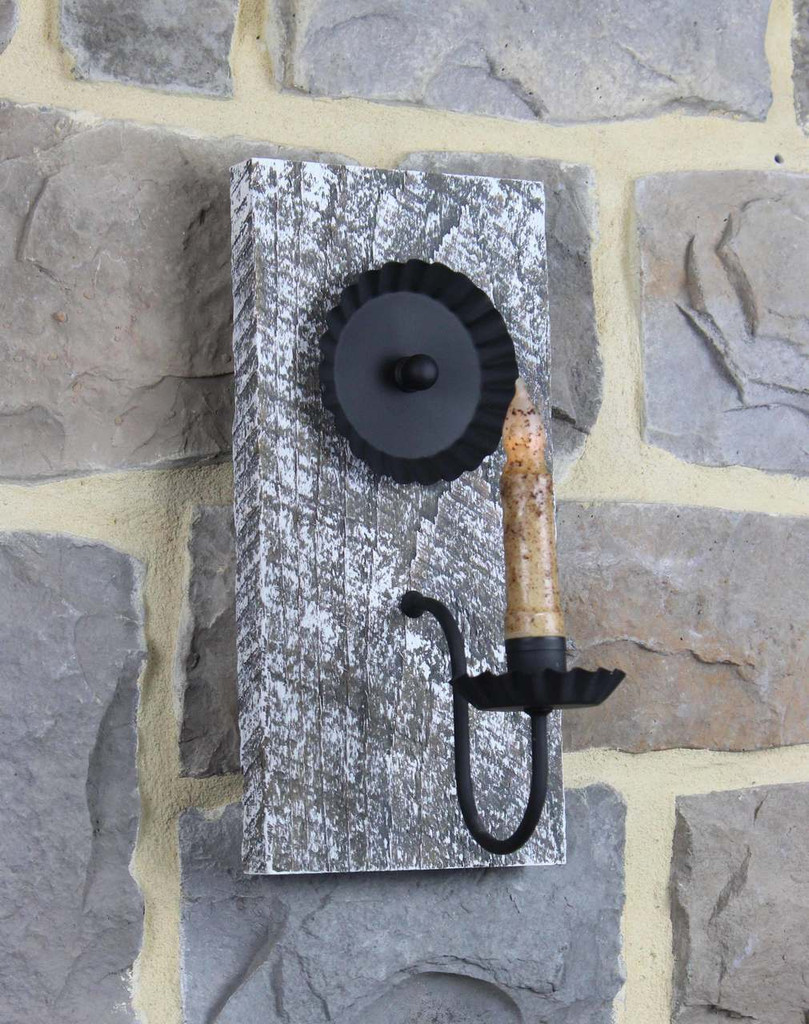 Rustic Barn Wood Candle Wall Sconce - Antique Slate With White Finish - Pictured With Battery Candle Sold Separately
