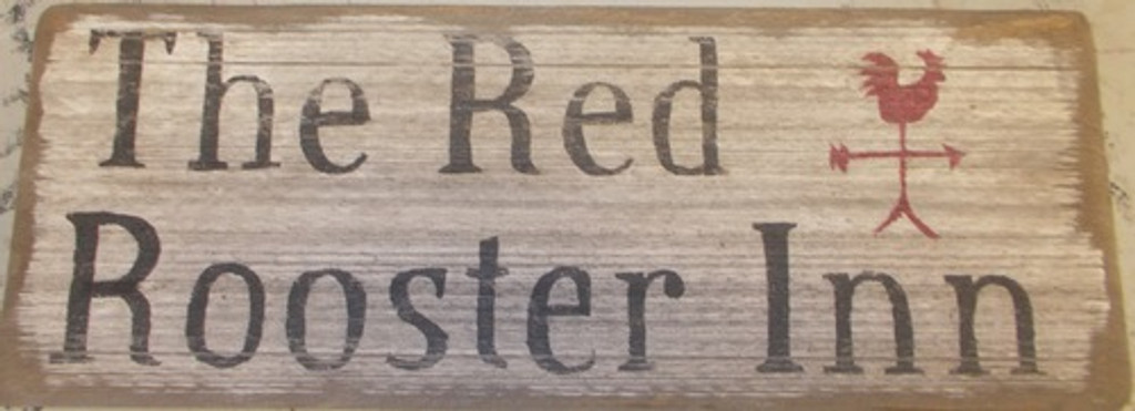 The Red Rooster Inn Wooden Sign