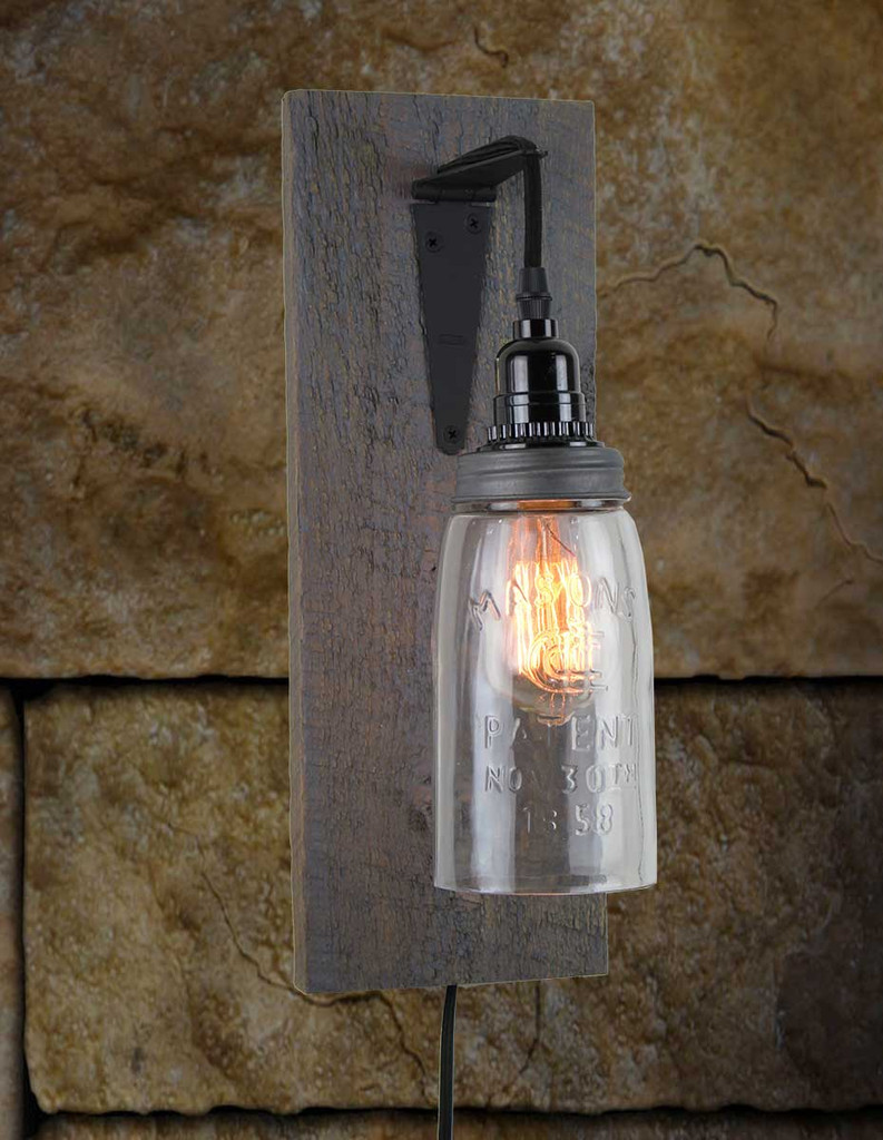 Rustic Barn Wood Electric Mason Jar Wall Sconce Finished In Antique Slate