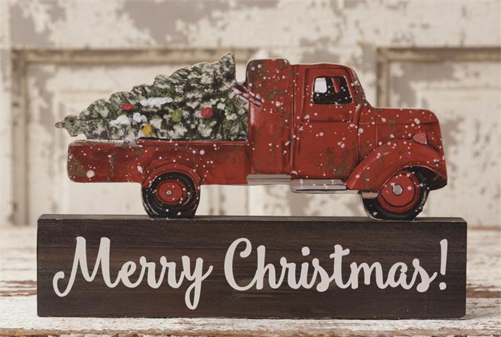 Old Truck With Christmas Tree Merry Block Click Here To Enlarge