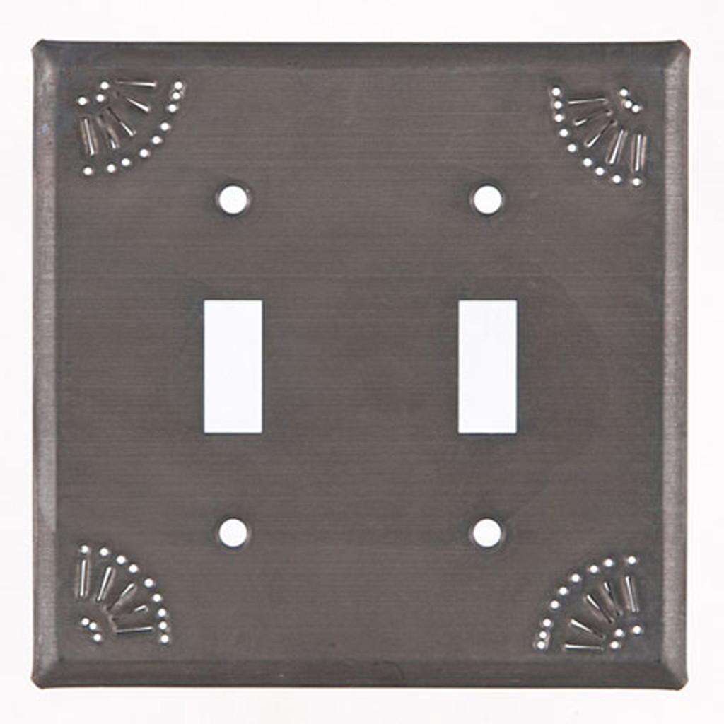 Blackened Tin Double Switch Cover With Chisel Design