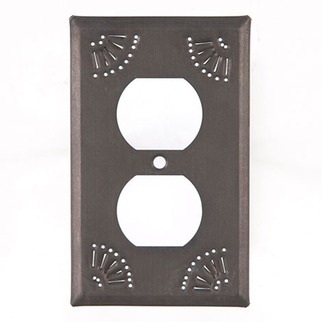 Blackened Tin Single Outlet Cover With Chisel Design