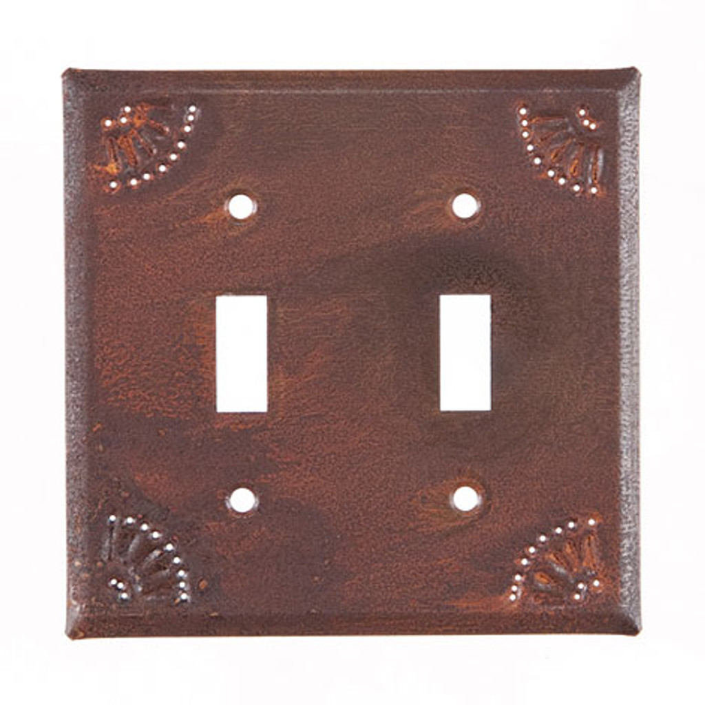 Rustic Tin Double Switch Cover Chisel Design
