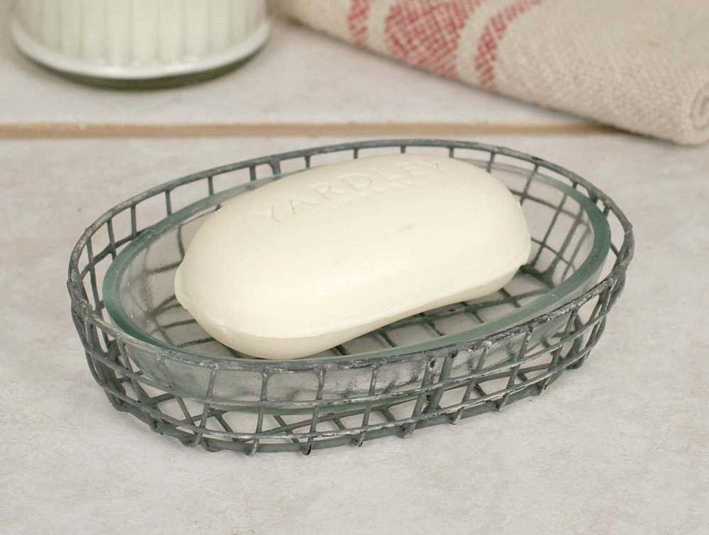 Wire Soap Dish With Glass Liner