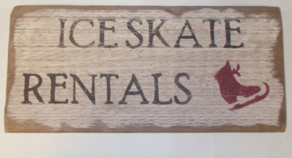 Ice Skate Rentals Wooden Sign