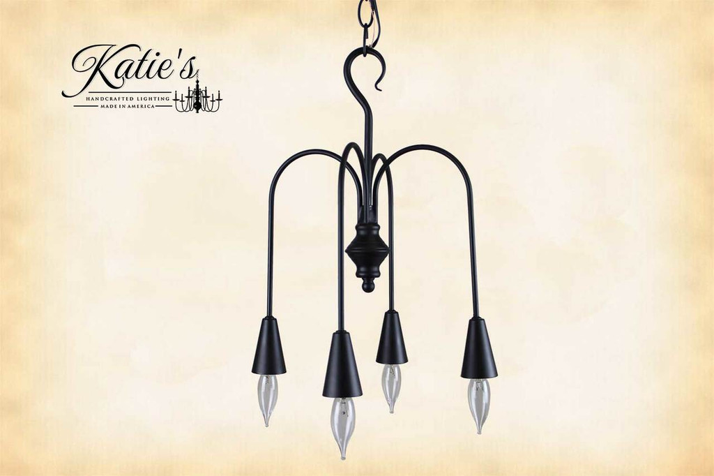Beacon Falls 4 Arm Chandelier Finished In Aged Black, Handcrafted In The USA by Katie's Handcrafted Lighting