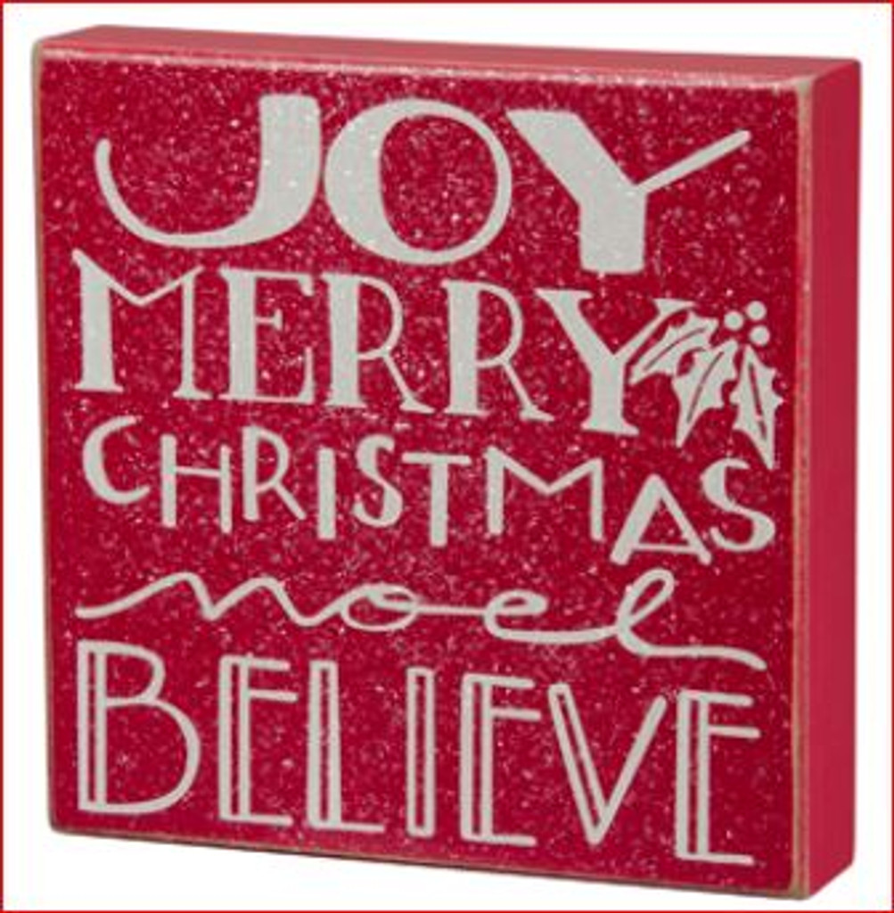 Joy Noel Believe Box Sign