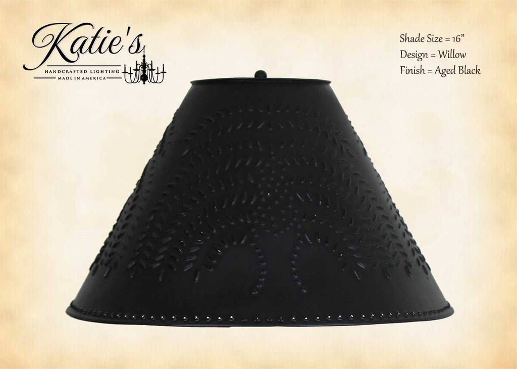 Pierced tin lamp shades 16 black shade handcrafted in usa click here to enlarge aloadofball Gallery