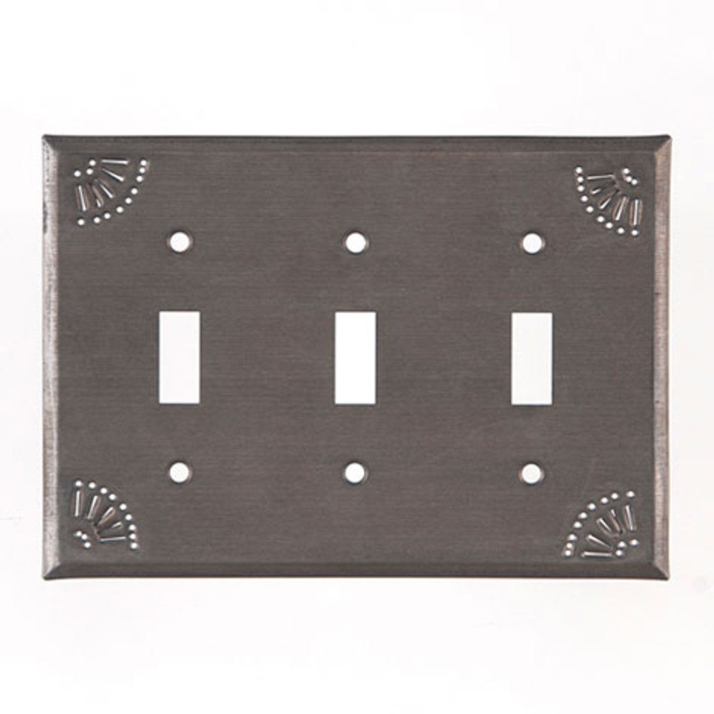 Blackened Tin Triple Switch Cover With Chisel Design