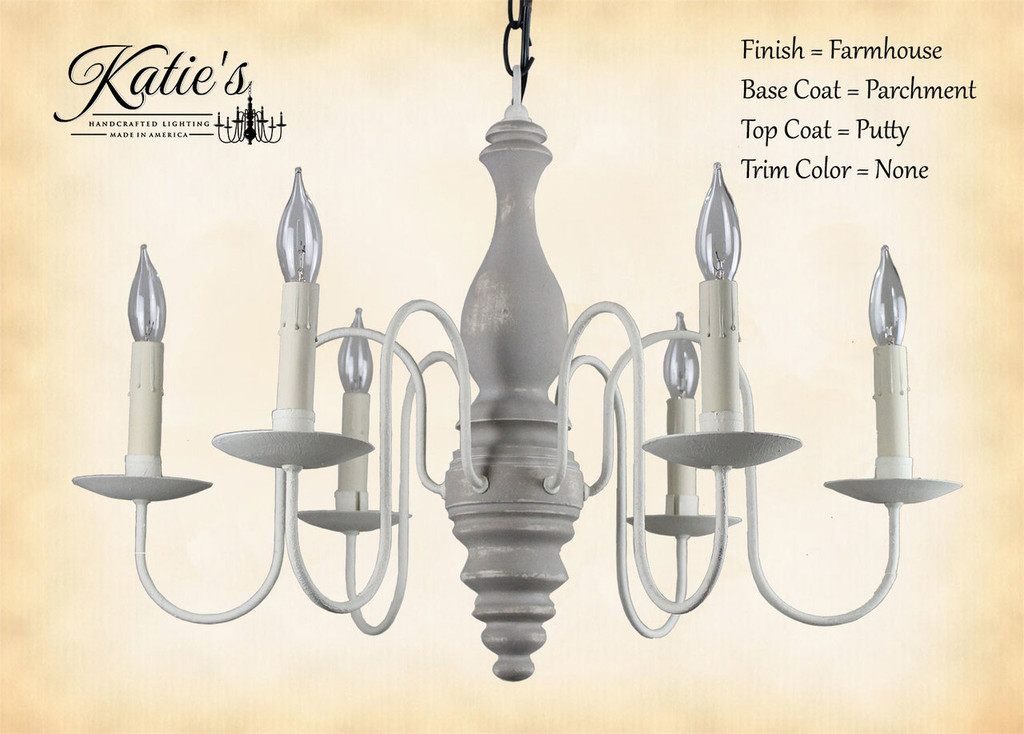Katie's Handcrafted Lighting Anderson House Wood Chandelier: Finish = Farmhouse, Base Coat = Parchment, Top Coat = Putty, Trim Color = None
