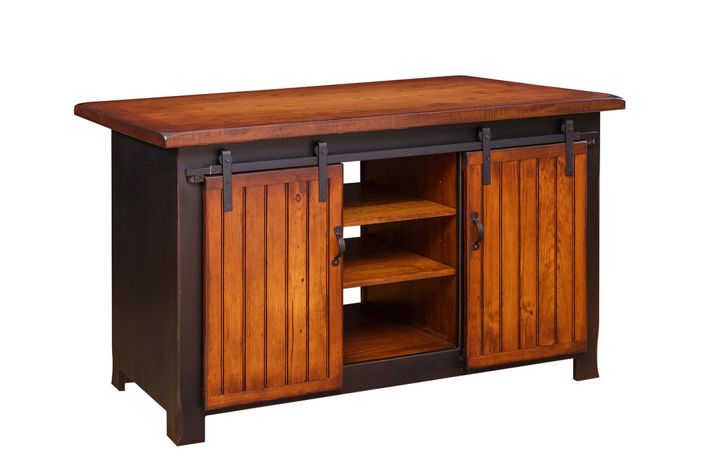 Amish Handcrafted Barn Door Kitchen Island by Vintage Creations By Sam - Finished In Antique 2-Tone Finish: Black With Heritage Stain
