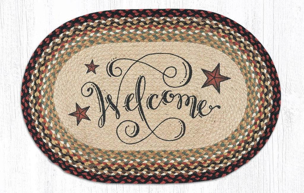 Earth Rugs™ Oval Patch Rug - Welcome Barn Stars - OP-319