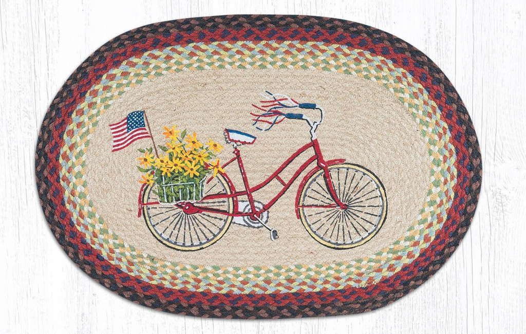 Earth Rugs™ Oval Patch Rug - Bicycle With Flag - OP-574
