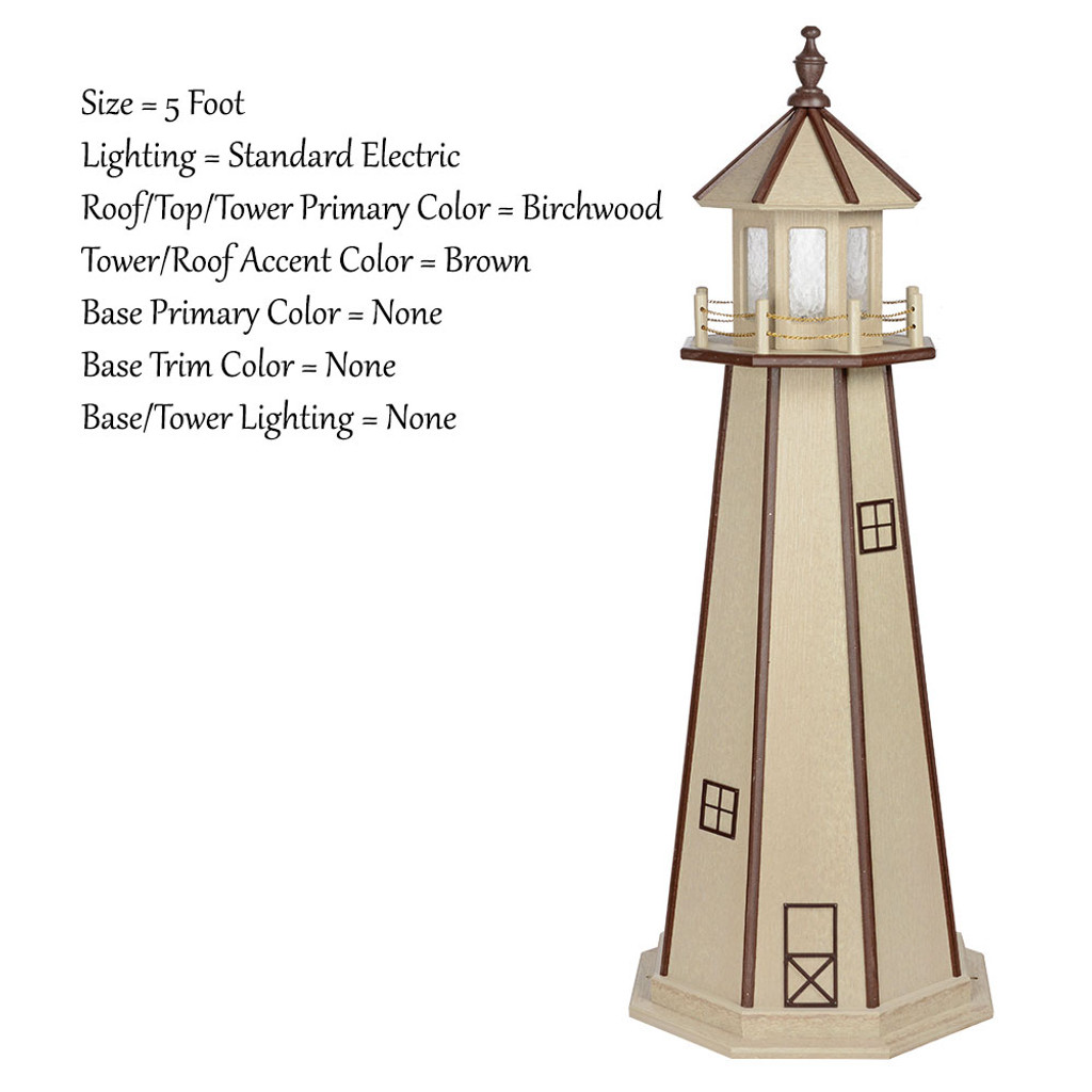 Amish Made Poly Outdoor Lighthouse - Standard - Shown As: 5 Foot, Standard Electric Lighting, Roof/Top & Tower Primary Color: Birchwood, Tower Accent Color: Brown, Optional Base Primary Color: None, Optional Base Trim Color: None, No Base/Tower Interior Lighting
