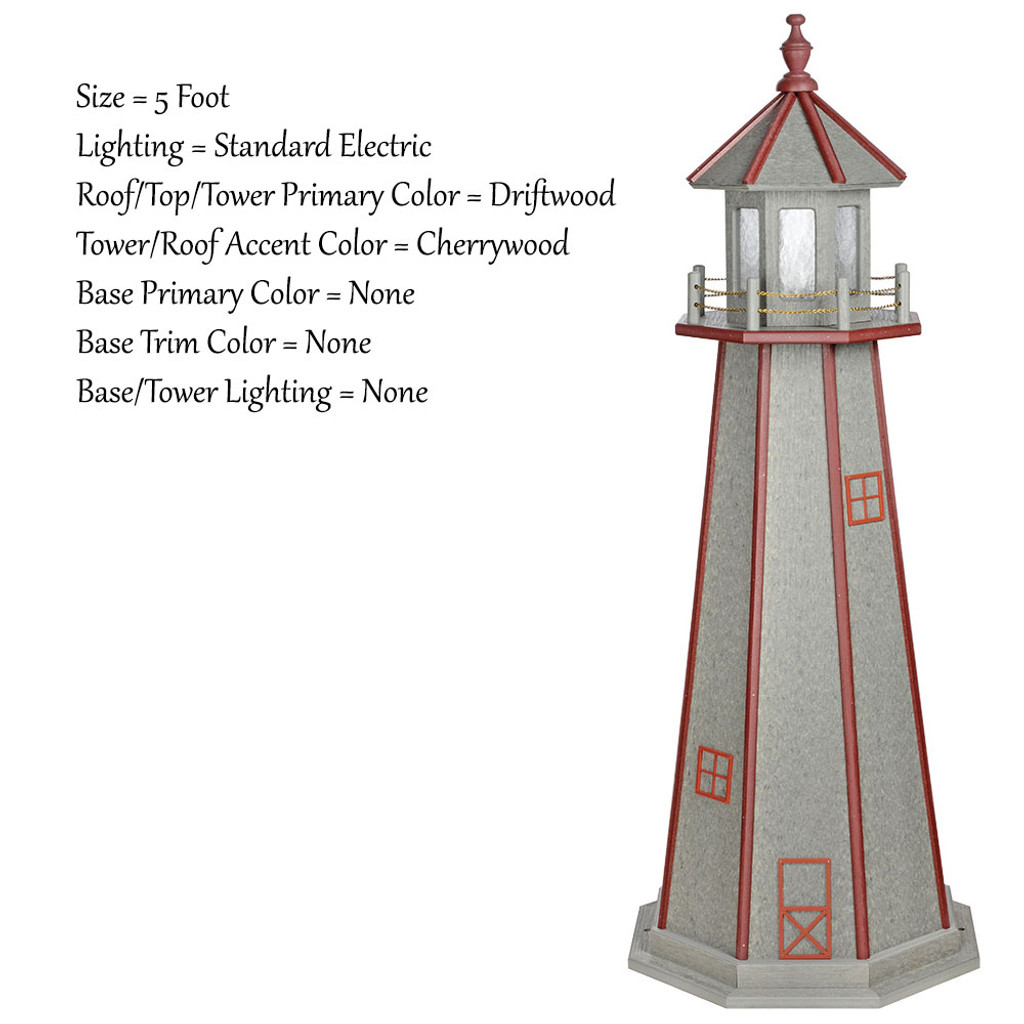Amish Made Poly Outdoor Lighthouse - Standard - Shown As: 5 Foot, Standard Electric Lighting, Roof/Top & Tower Primary Color: Driftwood, Tower Accent Color: Cherrywood, Optional Base Primary Color: None, Optional Base Trim Color: None, No Base/Tower Interior Lighting