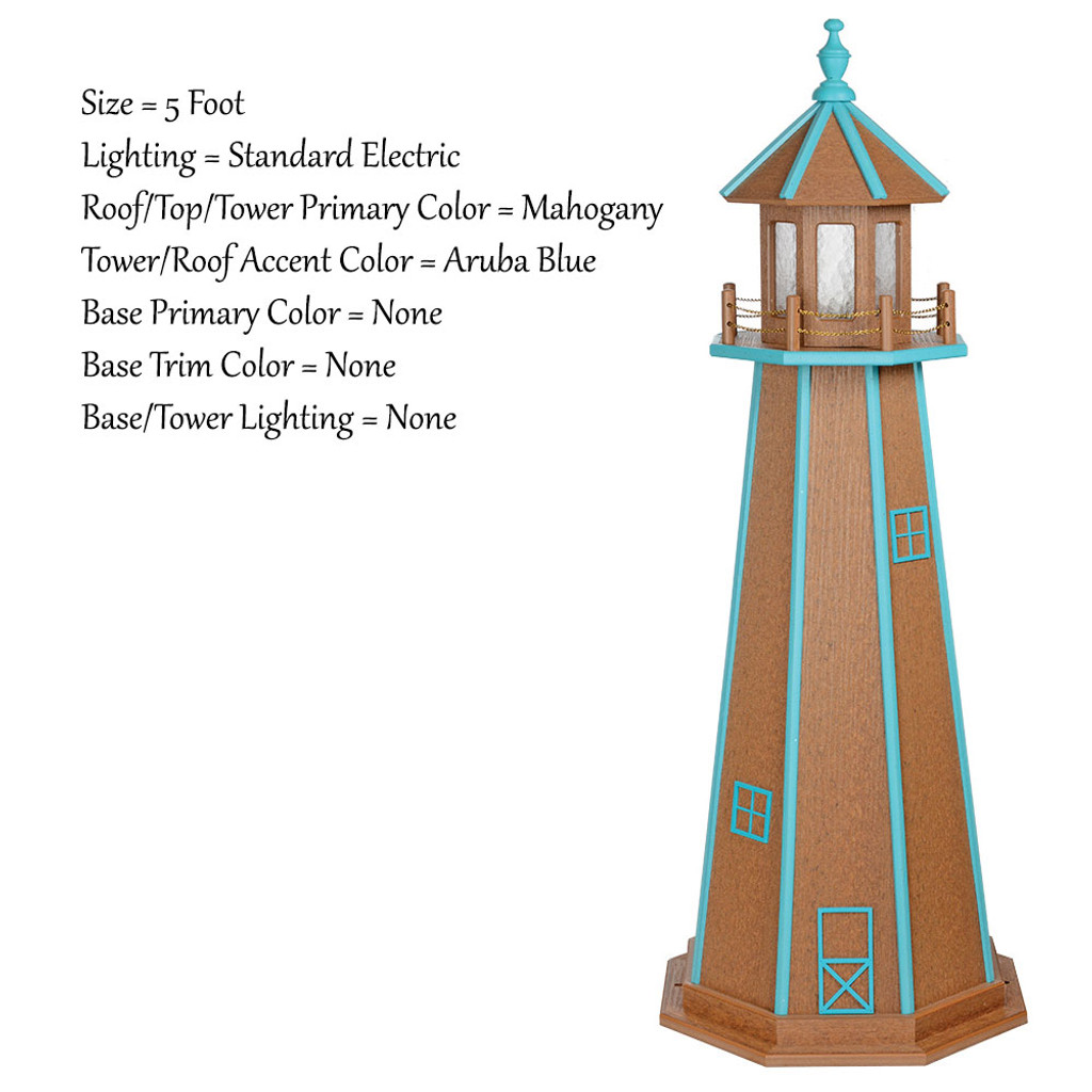 Amish Made Poly Outdoor Lighthouse - Standard - Shown As: 5 Foot, Standard Electric Lighting, Roof/Top & Tower Primary Color: Mahogany, Tower Accent Color: Aruba Blue, Optional Base Primary Color: None, Optional Base Trim Color: None, No Base/Tower Interior Lighting