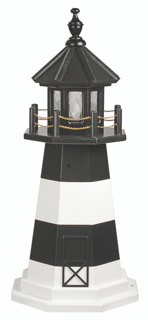 Amish Made Wood-Poly Hybrid Lighthouse - Fire Island - Shown As: 3 Foot, Standard Electric Lighting, Poly Roof/Top Color: Black, Wood Tower Primary Color: White, Wood Tower Accent Color: Black, Poly Base Primary Color: None, Poly Base Trim Color: None, No Base/Tower Interior Lighting