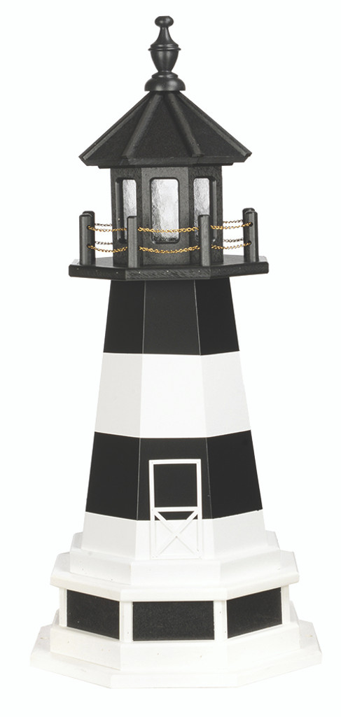 Amish Made Wood-Poly Hybrid Lighthouse - Fire Island - Shown As: 3 Foot With Base, Standard Electric Lighting, Poly Roof/Top Color: Black, Wood Tower Primary Color: White, Wood Tower Accent Color: Black, Poly Base Primary Color: Black, Poly Base Trim Color: White, No Base/Tower Interior Lighting
