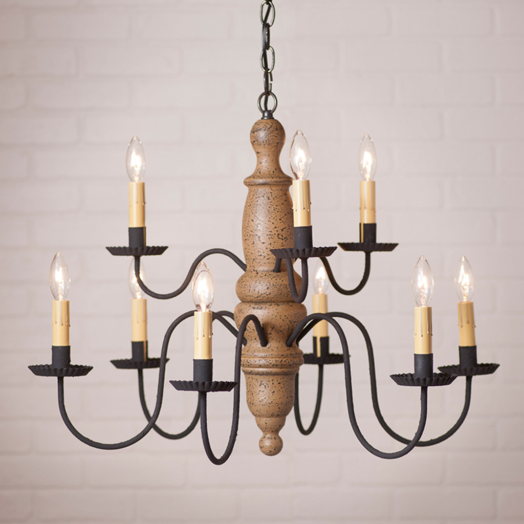 Irvin's Fairfield Wooden Chandelier In Americana Pearwood