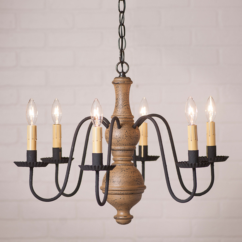 Irvin's Medium Chesterfield Wooden Chandelier In Americana Pearwood