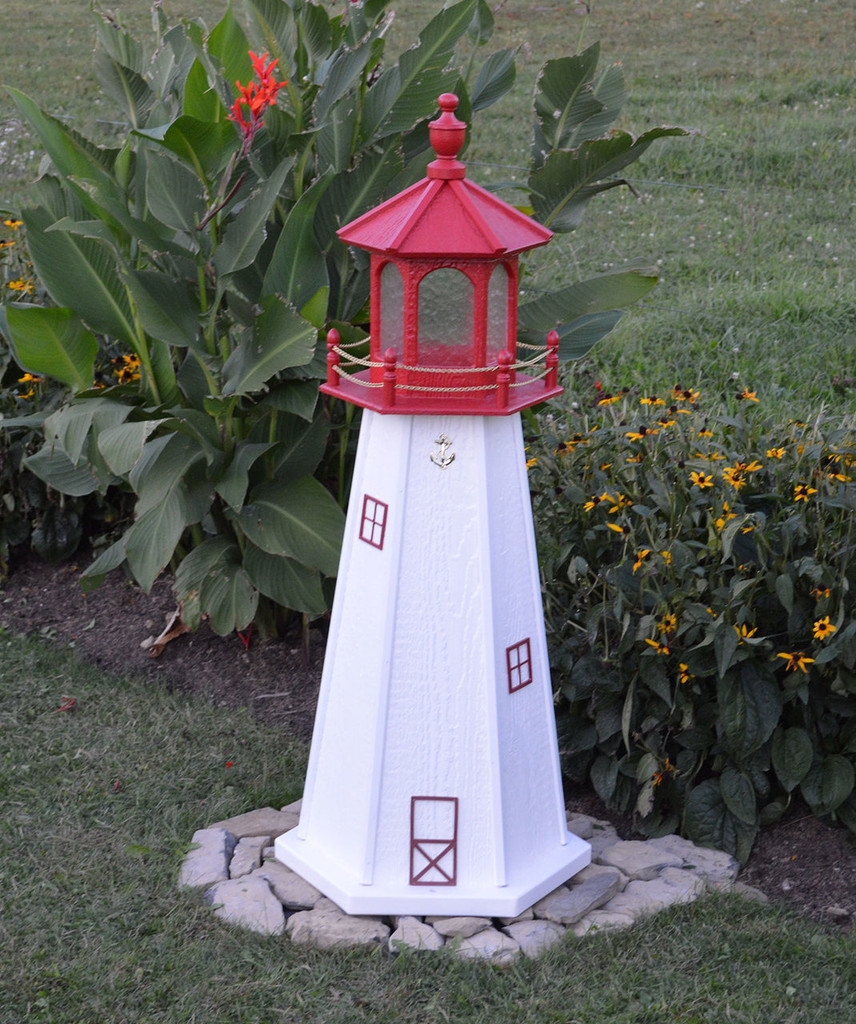 Amish Made Wood Garden Lighthouse - Cape May - Shown In 4 Foot Model With Standard Electric Lighting