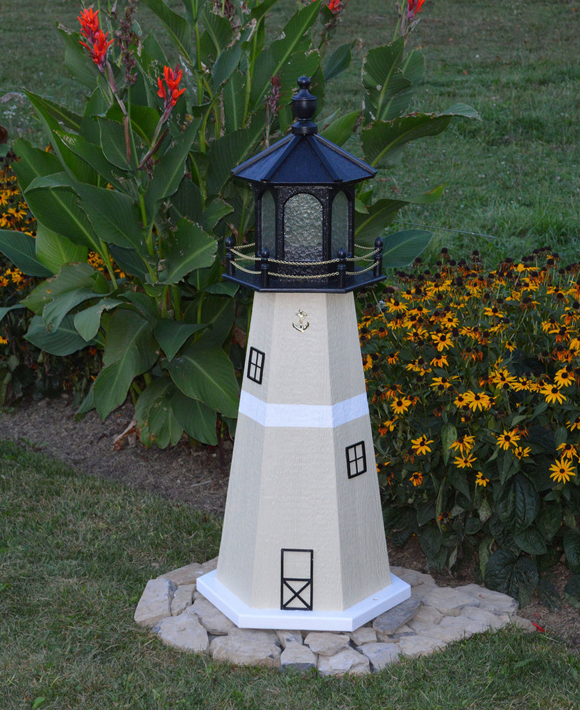 Amish Made Wood Garden Lighthouse - Split Rock - Shown In 4 Foot Model With Standard Electric Lighting