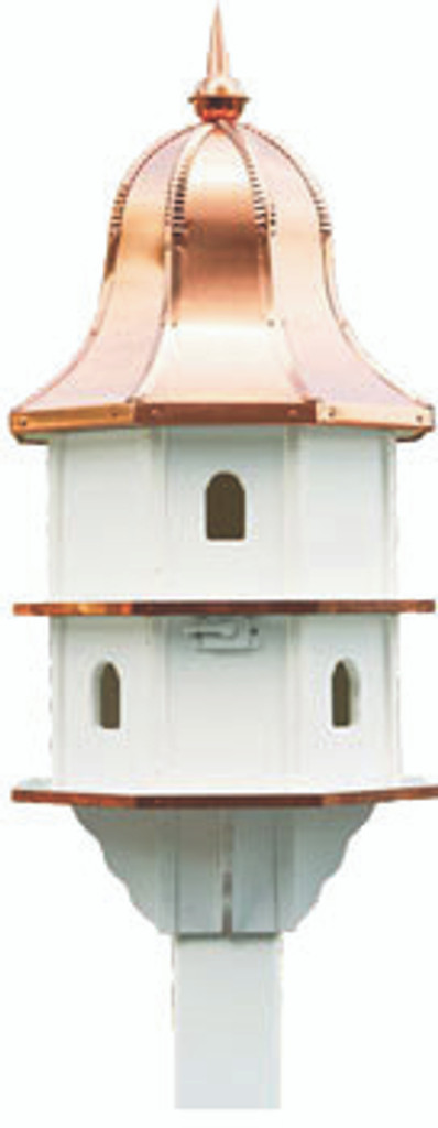Large Amish handcrafted poly birdhouse with copper roof.