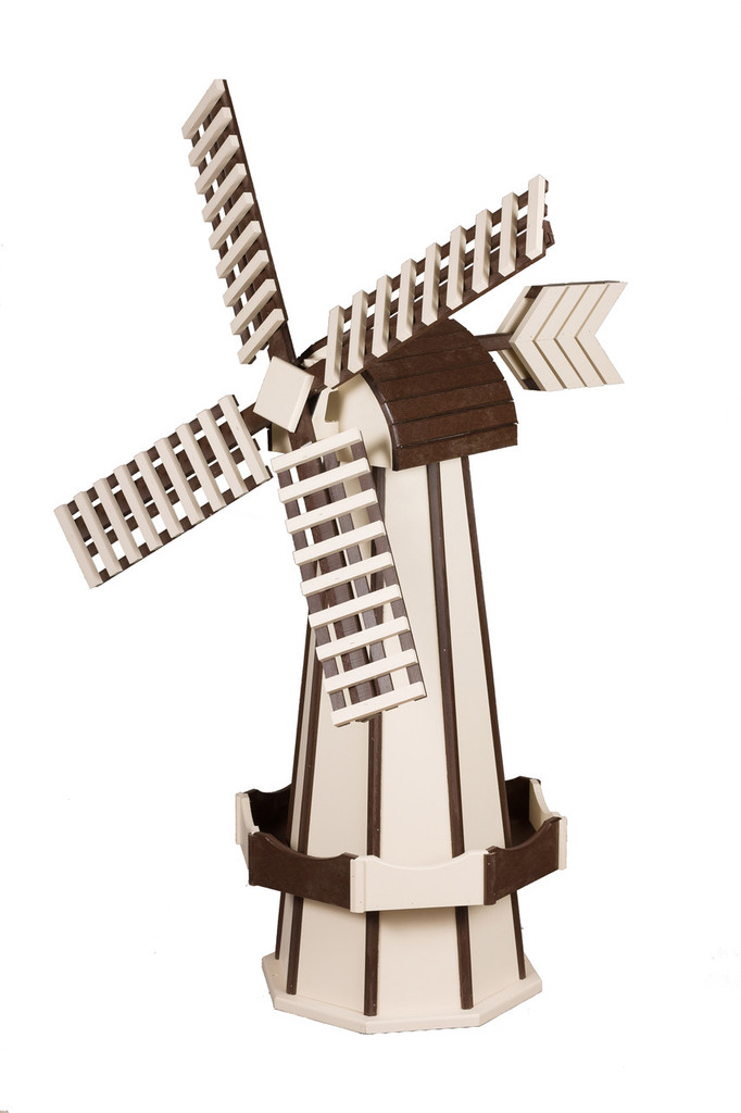 Amish Crafted Poly Windmill, Finished In Primary Color: Ivory, Accent/Trim Color: Brown