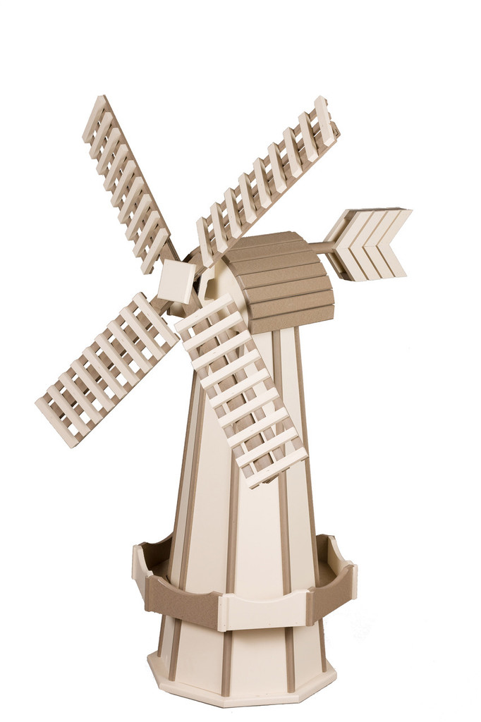 Amish Crafted Poly Windmill Medium Finished In Primary Color: Ivory, Accent/Trim Color: Weatherwood