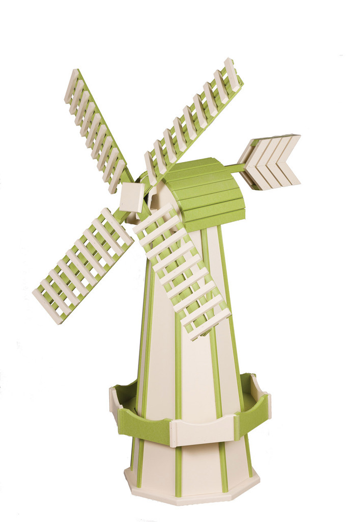 Amish Crafted Poly Windmill Medium Finished In Primary Color: Ivory, Accent/Trim Color: Lime Green