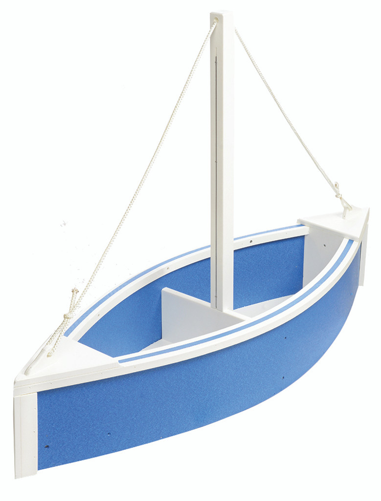 Amish Handcrafted Sailboat Planter - Poly Outdoor Nautical Flower Box In Primary Color: Blue, Accent Color: White